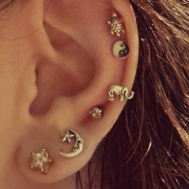 jewels yin yang earrings elaphant turtle moon cute earrings piercing