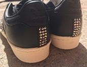 shoes,adidas,adidassneakers,sneakers,sneakers.,custom shoes,diams,fashion,black,superstar
