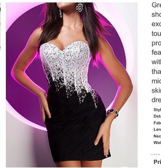 dress homecoming black dress white dress homecoming dress short dress earrings bracelets sweetheart neckline sparkle sparkling dress