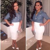 skirt,white,pencil shirt