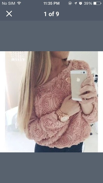 sweater coral pink sweater floral top off the shoulder sweater