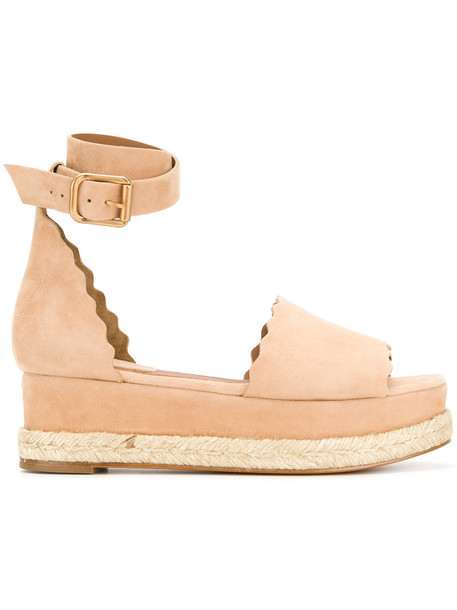 Chloe women espadrilles leather nude suede shoes