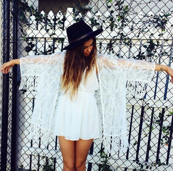 dress white hat brunette chiffon lace dress lace fringes see through white dress short dress girly angel tan cardigan