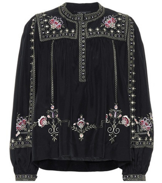 Isabel Marant Dyron embroidered silk blouse in black