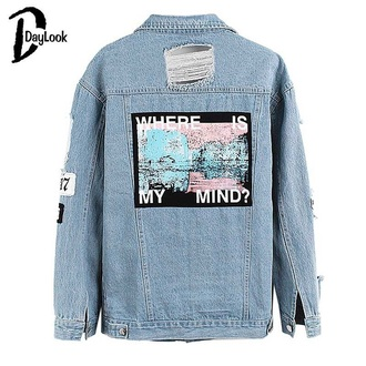 jacket where is my mind denim jacket denim jeans cool quote on it fashion style trendy long sleeves boogzel distressed denim ripped print grunge aesthetic rock