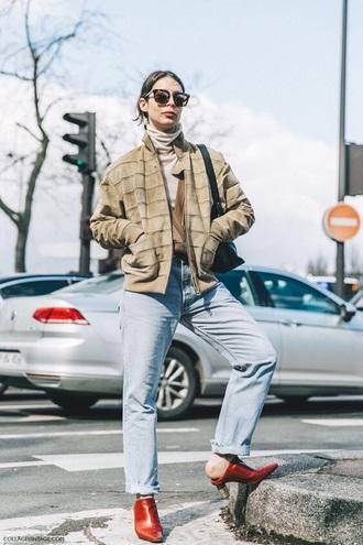 jeans boyfriend jeans blue jeans jacket nude jacket sunglasses shoes mules denim bomber jacket