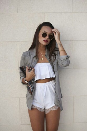 bag shorts cute crochet shorts lace white blogger style fashion outfit summer outfits