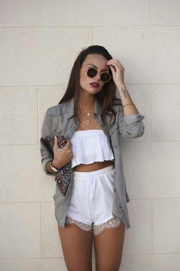 crochet shorts lace shorts white blogger style fashion cute outfit summer outfits bag top white top flannel jacket romper white shorts lace trimmed shorts matching set girly