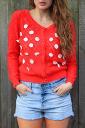 sweater,red,daisy,flowers,cute,cardigan,knitwear