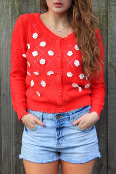 sweater red daisy flowers cute cardigan knitwear