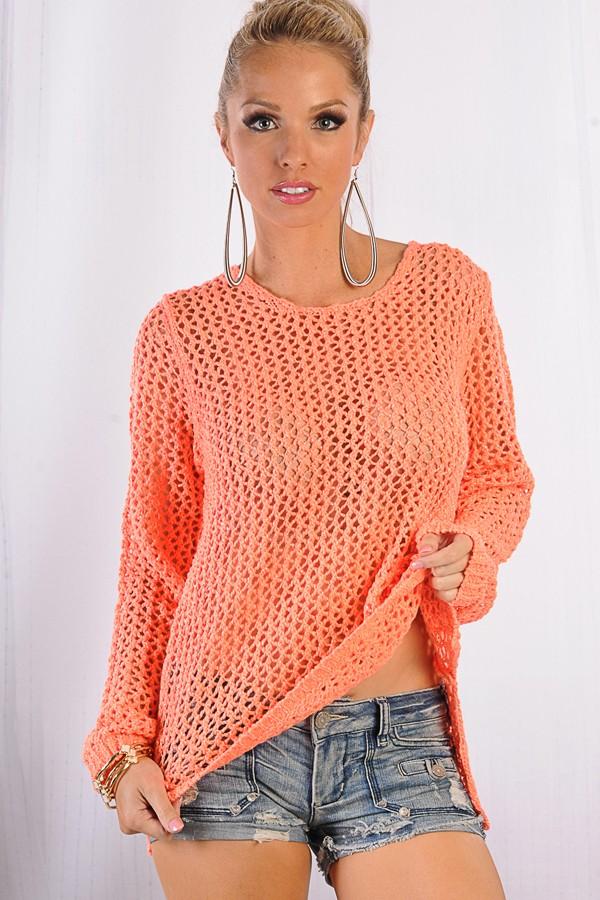Orange Sweater - Neon Orange Metallic Knit Sweater | UsTrendy