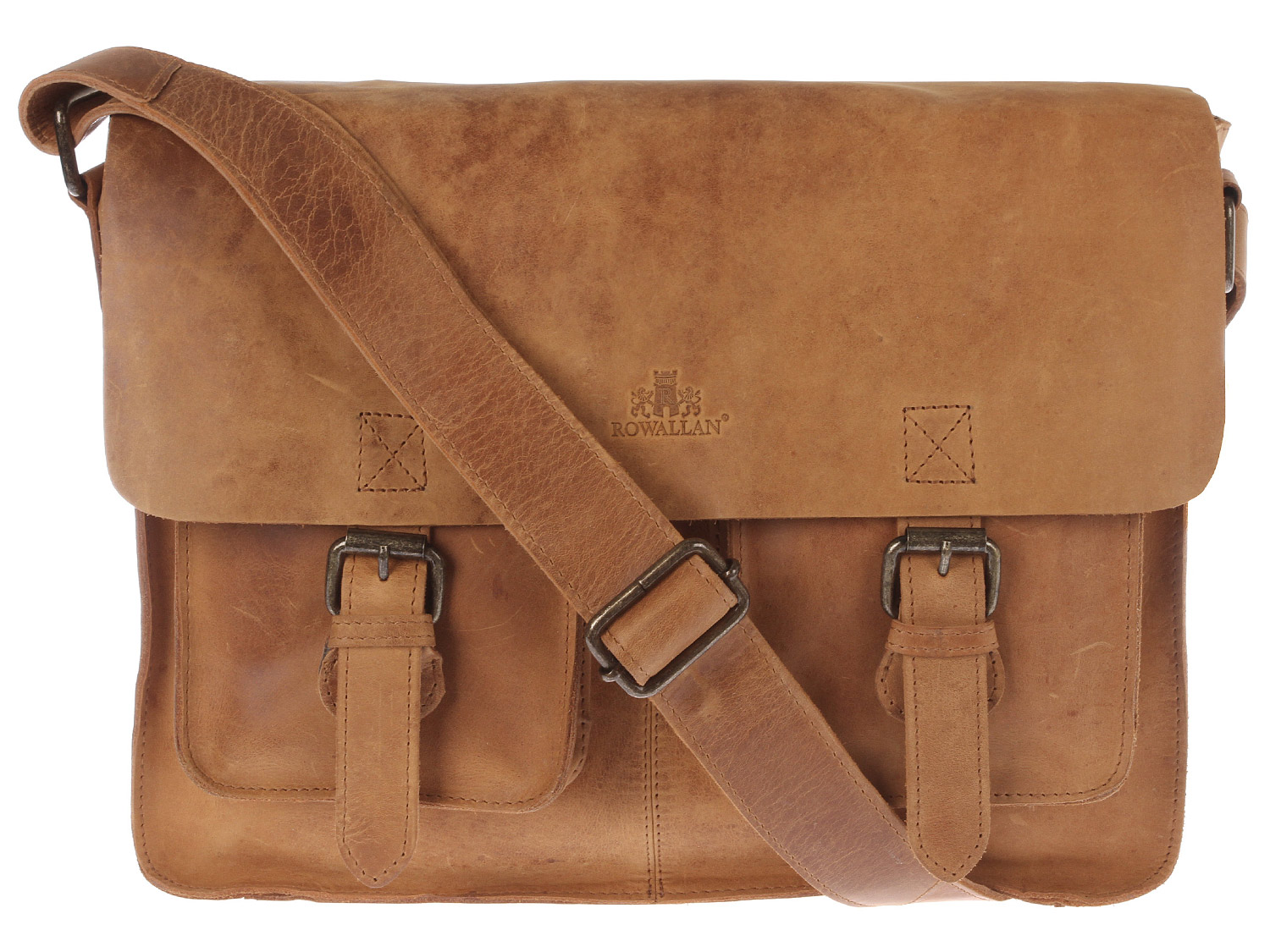 Rowallan - Scotland 'Denver' Vintage Cognac Leather Satchel 31-7956-COGNAC | pureluxuries.com