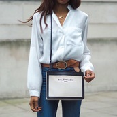symphony of silk,blogger,jeans,bag,balenciaga,designer bag,white shirt,casual