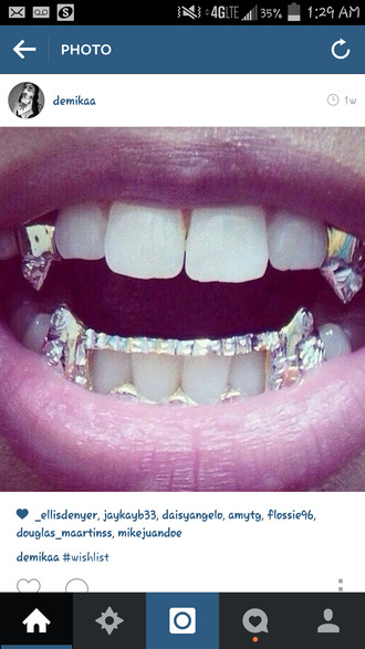 jewels teeth jewel fangs grillz diamonds accessories trendy