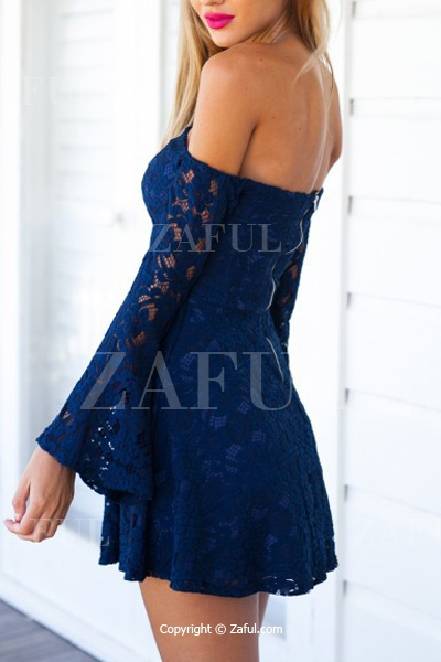 de6cae12bebc Blue Lace Off The Shoulder Flare Dress