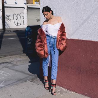 kris chérie blogger shoes jacket blouse jeans jewels faux fur coat off the shoulder top sandals high heel sandals