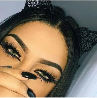 hair accessory black cat ears lace headband tumblr grunge ariana grande