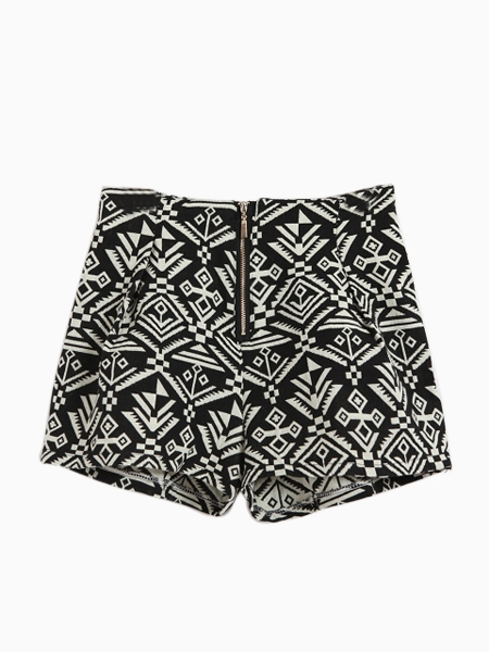 Geometric Totem Print Zip Shorts In Black | Choies