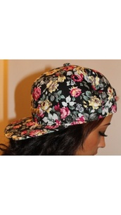 hat,floral,snapback,cool