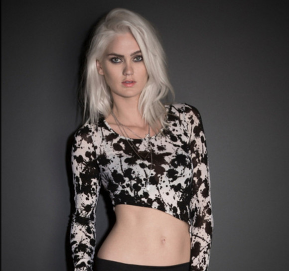 long sleeved dress shirt tie dye splatter black and white asymmetrical crop tops
