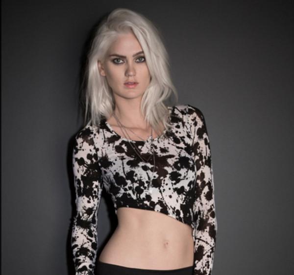 shirt tie dye splatter black and white asymmetrical crop tops long sleeve dress