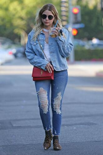 top jacket denim jacket denim jeans ashley benson streetstyle spring outfits