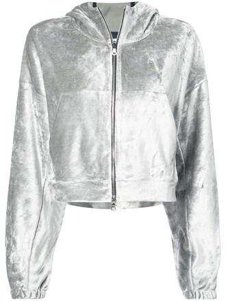 hoodie women cotton velvet grey sweater