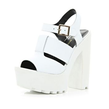White cleated sole platform sandals - heels - shoes / boots - women on Wanelo