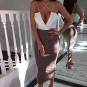 blouse,white top,strappy blouse,skirt,dress,top,bodysuit,crop tops,white dress,bodycon dress,jumpsuit,sexy dress,sexy party dresses,party dress,party outfits,birthday dress,clubwear,white,brown