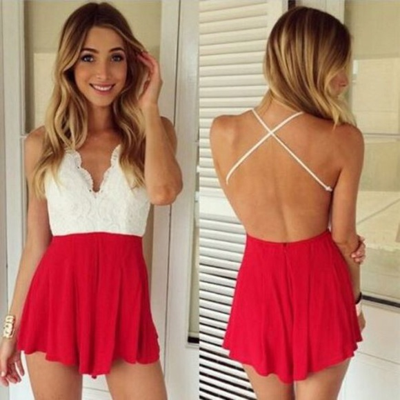 21% off Free People Pants - Open back Red Romper from Sierra's closet on Poshmark