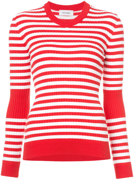 top knitted top women cotton red