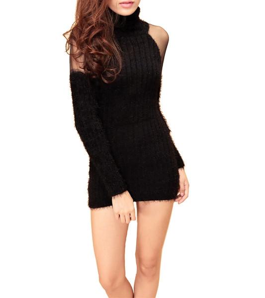 Black shoulder mesh turtle neck sweater