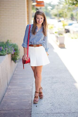 skirt light blue shirt brown belt red purse brown strappy sandals white pleated skirt blogger