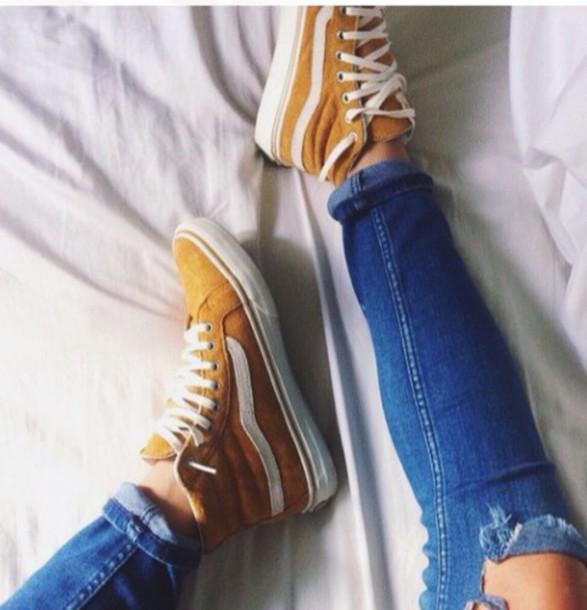 shoes, mustard color vans - Wheretoget
