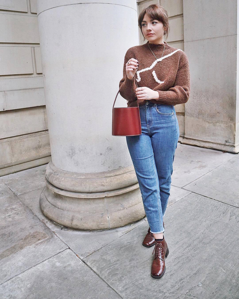 sweater tumblr knit knitwear knitted sweater brown sweater denim jeans blue jeans cropped jeans boots brown boots ankle boots bag handbag