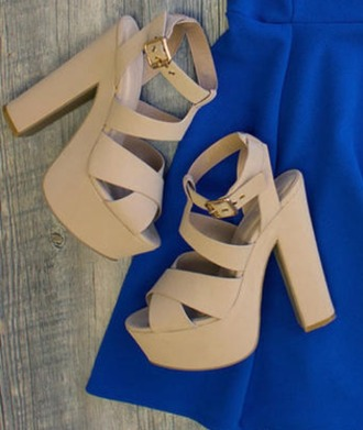 shoes beige shoes chunky heels strappy heels
