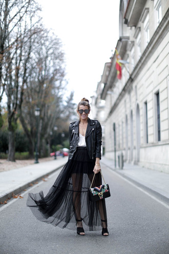 b a r t a b a c blogger jacket top skirt bag shoes sunglasses jewels black leather jacket high heel sandals maxi skirt see through skirt
