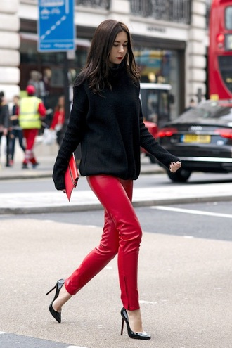 le fashion image blogger sweater bag pants black sweater red pants high heel pumps pumps red bag clutch leather leggings chic nordstrom faux leather missguided red leather pants tumblr leather pants pointed toe pumps black heels high heels pouch