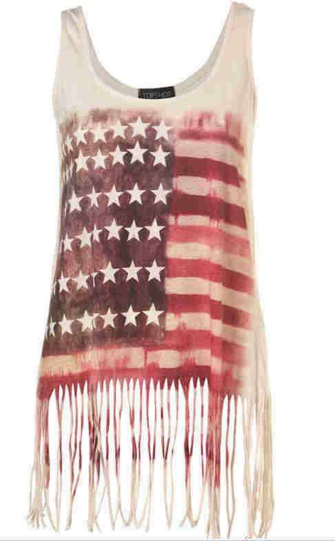 'topshop' american flag top, 8,10,12.
