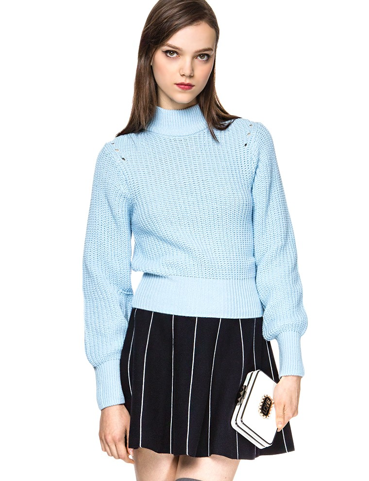 Blue Turtleneck Sweater - Cute Pastel Sweaters - $79