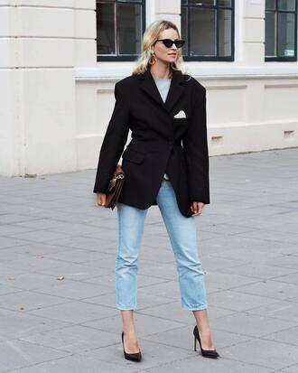jacket tumblr blazer black blazer denim jeans blue jeans cropped jeans pumps pointed toe pumps high heel pumps sunglasses cat eye