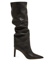 high,knee high,leather boots,leather,black,shoes