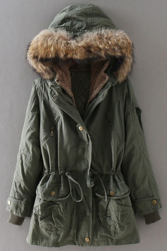 jacket coat fur fall outfits army green jacket zaful