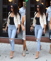 jeans,selena gomez,jacket,light blue jeans,white jacket,nude heels