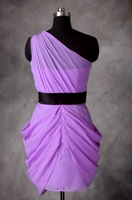 A-line One-shoulder Lilac Chiffon Short bridesmaid dresses/Cocktail Dresses