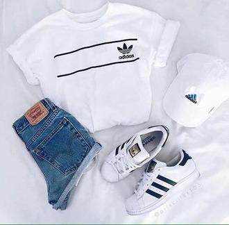 t-shirt adidas shirt black and white black white grunge grunge t-shirt tumblr adidas superstars high wasted denim jeans