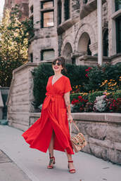 dress,red dress,midi dress,sandals,bag,sunglasses,v neck dress