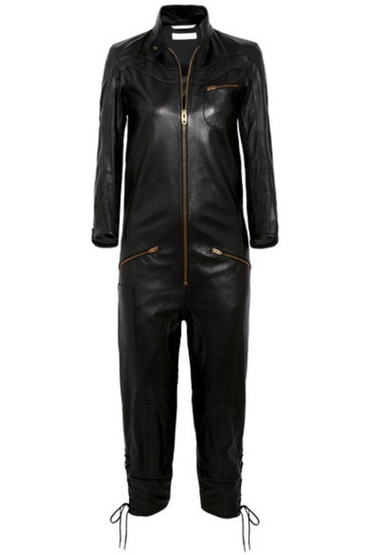 Chloé Chloé - Lace-up Leather Jumpsuit - Black
