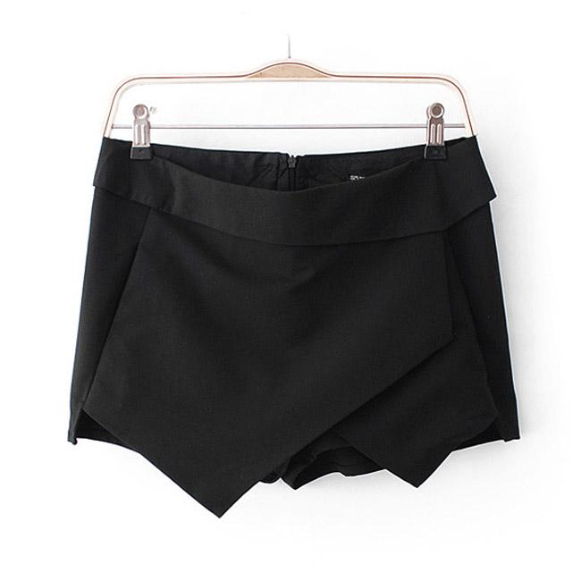 Wrap Mini Skort Skirt Irregular Laminated Flanging Black White Blue Orange O   eBay