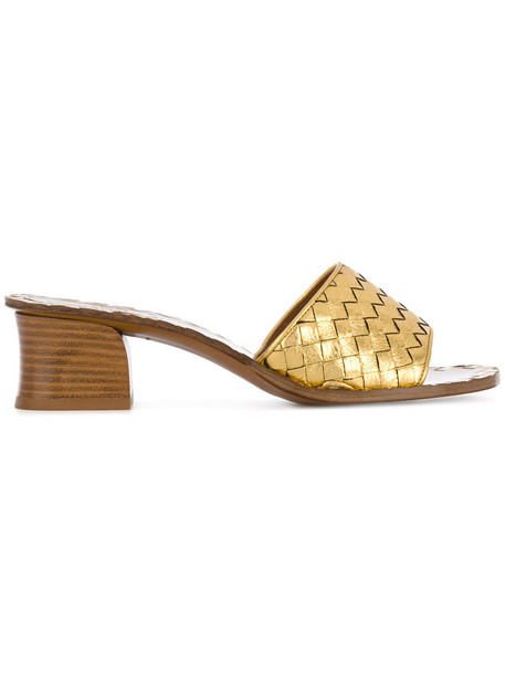 Bottega Veneta women weave mules leather grey metallic shoes